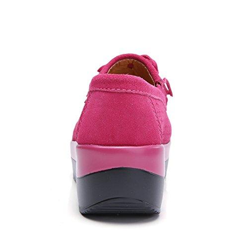Stq Kvinner Plattform Kiler Dusk Loafers Komfort Arbeid Slip På Frynse Semskede Mokkasiner Sko 288-2 Rosenrød