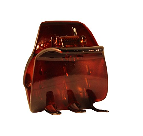 Parcelona French Neo Classic Medium Covered Spring Celluloid Six Teeth Shell Hair Claw - Approx 1 1/2 ()