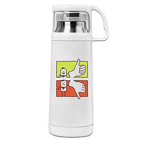 Karen Garden Good Thumb Bad Thumb Stainless Steel Vacuum Insulated Water Bottle Leak Proof Handled Mug White,12oz (Both Tales Sides Brain)