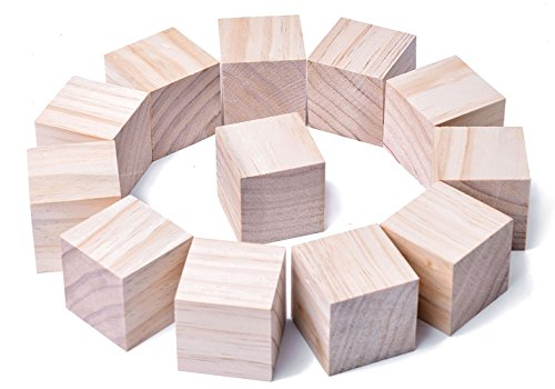1.5Inch Wooden Cubes Natural Unfinished Craft Wood Blocks for Baby Shower Pack of 12