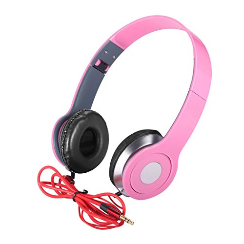 Price comparison product image Boofab Over-Ear Teens Kids Childs Foldable DJ Headphones 3.5mm Wired Game Earphones for apple iPhone 8 8 plus 7 7 plus and Samsung Galaxy Note8 S7 S8 and Android Phones (PINK)