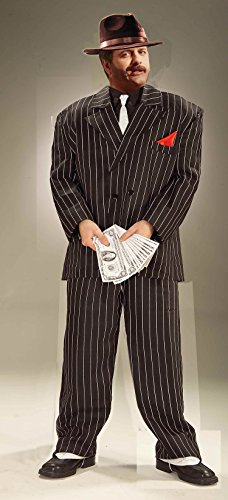 Forum Novelties Plus-Size Roaring 20's Extra Large Chicago Gangster Costume, Black, (Gangster Halloween Costume Mens)