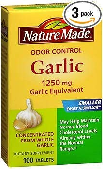 Nature Made Odor Control Garlic Tablets, 1250 mg - 100 ct, Pack of ()