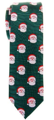 Retreez Christmas Santa Claus Woven Microfiber Skinny Tie - Green, Christmas Gift