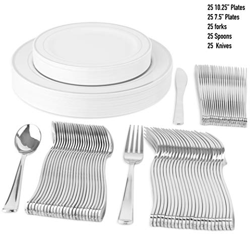 "(125 Disposable Tableware Set | 25 10"" Plastic Dinner Plates, 25 7"" Salad/Dessert Plate, 25 Forks, 25 Knives, 25 Spoons 