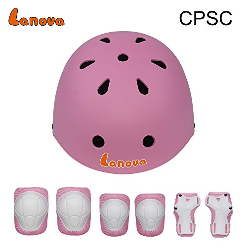 Lanova Kids Adjustable Sports Protective Gear Set Safety Pad Safeguard (Helmet Knee Elbow Wrist) Roller Bicycle BMX Bike Skateboard Hoverboard and Other Extreme Sports Activities (Pink)