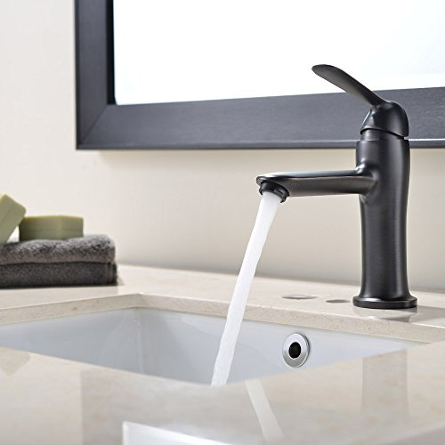 hot sale VAPSINT Modern Single Handle One Lever Oil Rubbed Bronze Finish Bathroom Sink Faucet, Oil Rubbed Bronze Bathroom Faucet