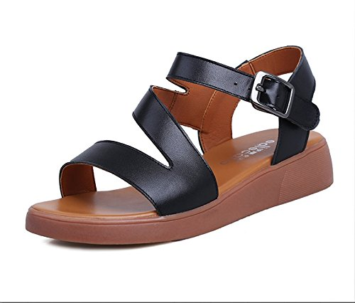 Xing Lin Sandalias De Mujer Verano Sandalias Planas Nuevas Mujeres Zapato Abierto Zapatos De Cuero Con Comodidad Cómoda Calzado Casual E617-18 black
