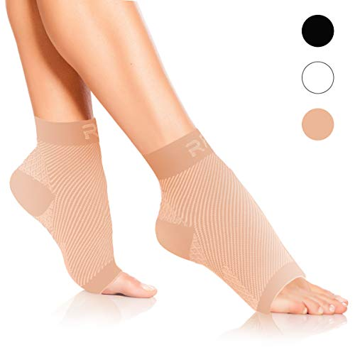 Plantar Fasciitis Foot Compression Sleeves for Injury Rehab & Joint Pain. Best Ankle Brace – Instant Relief & Support for Achilles Tendonitis, Fallen Arch, Heel Spurs, Swelling & Fatigue (Beige, MED)