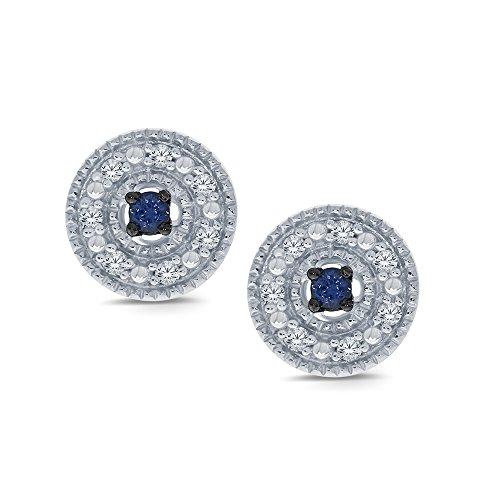 Diamond Earrings Cluster Silver (La Joya 0.10ct Round White Natural Diamond Blue Sapphire Sterling Silver Cluster Halo Stud Earring Christmas Xmas)