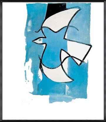 ポスター ジョルジュ ブラック Le Oiseaux Bleu et Gris 額装品 アルミ製ハイグレードフレーム(ブラック) B072HW8PMW ブラック ブラック