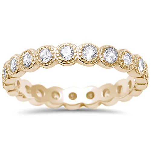 Yellow Gold Plated CZ Antique Style Bezel Set Eternity Stackable .925 Sterling Silver Ring Sizes 7