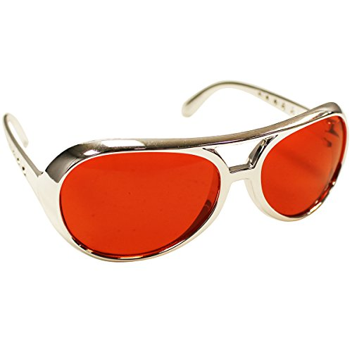 Rock Star Sunglasses - Red with a Silver Frame by Funny Party Hats (Elvis Costume For Kids)
