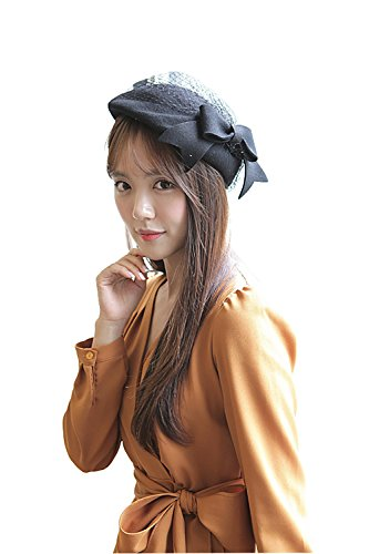 NE Norboe Fascinator Wedding Pillbox Hats Wool Church Hat Bow Veil for Women (Black Pill Box Hat)