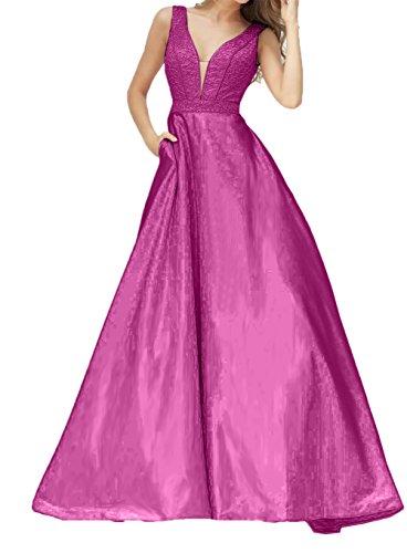Damen Festlichkleider Bodenlang Pink Abendkleider V Ausschnitt mit Promkleider Charmant Linie Brautmutterkleider A dp7n5qCw