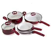 Ecolution Bliss ceramic Nonstick Cookware 8Piece Set - Stainless Steel Induction Base, Red