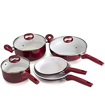 Ecolution EBCAW-1208 Bliss Ceramic Cookware Set-8 Piece, Red