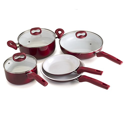 Ecolution EBCAW-1208 Bliss Ceramic Cookware, Set-8 Piece, Red