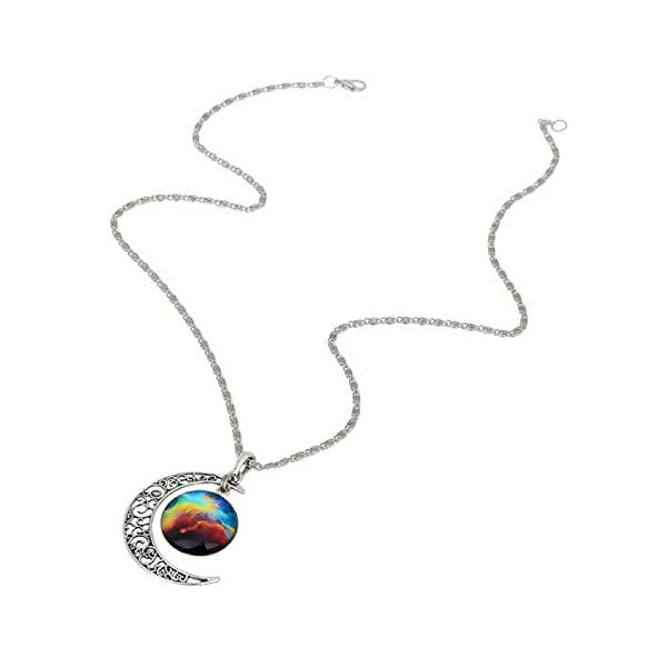 Galaxy & Crescent Cosmic Moon Pendant Necklace - Colorful Glass - 17.5'' Chain - Great Gift for Women