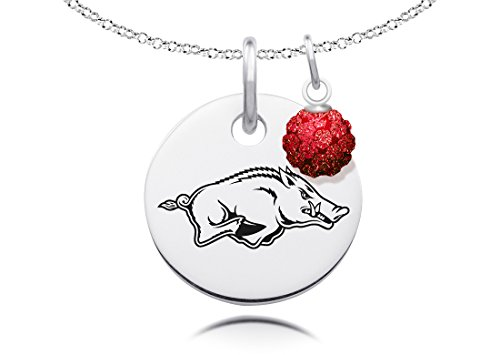 Arkansas Razorbacks Necklace with Crystal Ball Accent Charm