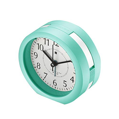 JQWGYNZ Alarm Clock, Silent Bedside Creative Music Multi-Function Simple Alarm Night Light Children Personality Lazy Small Alarm Clock (Color : Green)