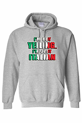 Yelling I'm Italian Humor Pullover HOODIE GREY (3XL) ()