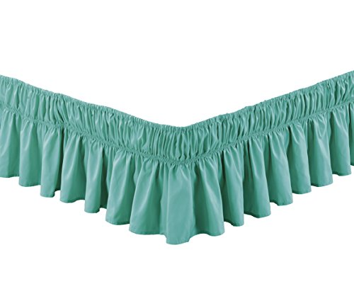 "Wrap Around 17"" inch Fall Turquoise Blue Ruffled Elastic Solid Bed Skirt Fits All Queen, King and Cal King Size Bedding High Thread Count Microfiber Dust Ruffle, Silky Soft & Wrinkle Free."