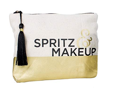 Holiday Small Gold Canvas Makeup Bag
