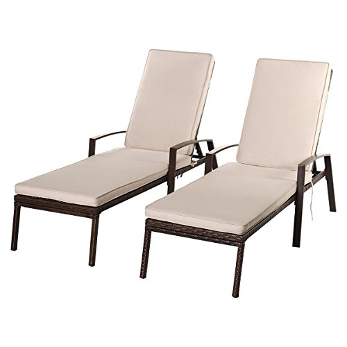 Tangkula Wicker Chaise Lounge Outdoor Patio Adjustable Lounger Chair Set of 2 by Tangkula