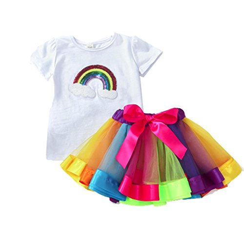 Morecome Lovely Girl Rainbow Sequins Bowknot dress yarn skirt +Short sleeved Shirt Sets For 2-5 Years Girl (3T, White) from morecome