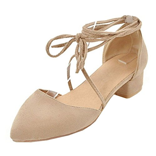 TAOFFEN Women Spring Summer Shoes Lace up Apricot-5