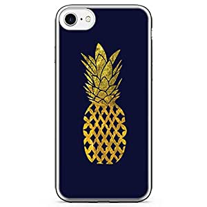 iPhone 7 Transparent Edge Phone Case Gold Pineaaple Phone Cae Blue iPhone 7 Cover with Transparent Frame