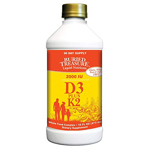 Buried Treasure Vitamin D3 2,000 IU with 80 mcg K2 for Healthy Cardio Function, Bone Health and Immune Support Naturally Sourced Liquid Supplement Red Raspberry 96 Servings 16 fl oz