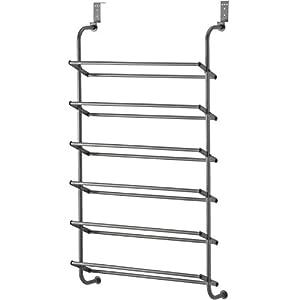 Whitmor 6 Shelf Over The Door Shoe Rack Gunmetal