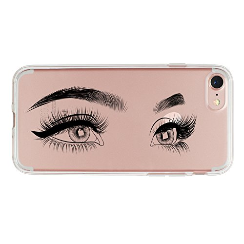 - iPhone 7 Plus Case,iPhone 8 Plus Case,Charming Eyes Eyelashes Clear Shock-Absorption Bumper Anti-Scratch TPU Soft Rubber Protective Cover Case for Apple iPhone 7/8 Plus
