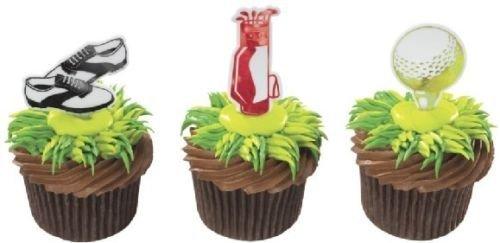 Party Cupcake Pics - CakeDrake GOLF PGA Shoes Bag Tee (12) Cupcake Party Favor Plastic Shiny Topper PICS Picks