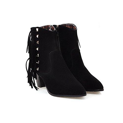 Allhqfashion Women's Imitated Suede Low-top Solid Zipper Kitten-Heels Boots Black ueycyXR