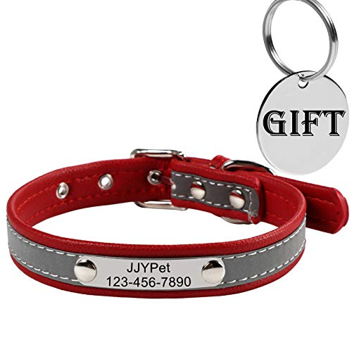 M JJYPET Personalized Leather Dog/Cat Collars Engraved Pet Collar with Name Plated,Reflective,Size Available:Extra-Small Small Medium Large Extra-Large