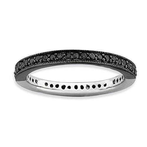 2.25mm Sterling Silver Prong set Reversible Rhodium-plated Ruthenium plating Stackable Expressions Polished Half Black White Diamond Ring - Size 7
