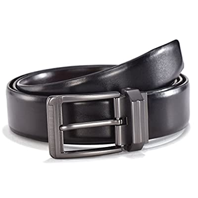 Men's Dress Reversible Leather Belt - Single Rotated Buckle with Gift Box by Melrtrich-Big Sale