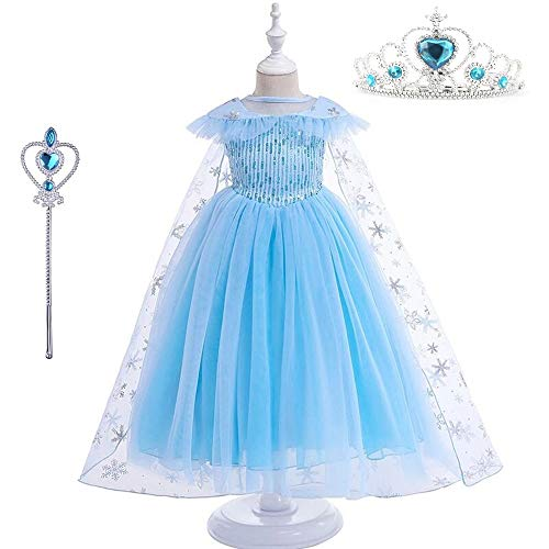 DXYtech Snow Queen Elsa Costumes Frozen Princess Sequins Dress Up Party Outfit for Toddler Girls (Short 2, 130/5T-6T)