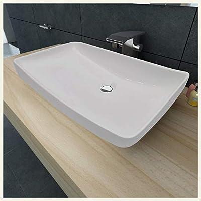 "K&A Company Luxury Ceramic Basin Rectangular Sink White 28"" x 15"""