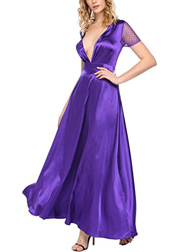 ANGVNS Women's Sexy Deep V Neck Maxi Party Dress Violet XXL (Plus Size Dresses Satin)