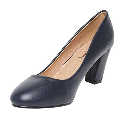 Womens Ladies Faux Leather Slip On High Block Heel Mary Jane Smart Formal Pumps Court Shoes - K80 Navy