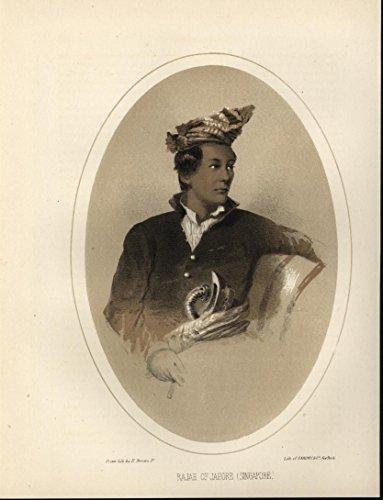Rajah of Jahore Singapore Nobility 1857 antique color lithograph - Singapore Prints