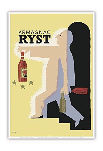 (Pacifica Island Art Armagnac Ryst Cognac - Vintage Advertising Poster by Raymond Savignac c.1943 - Master Art Print - 13in x 19in)