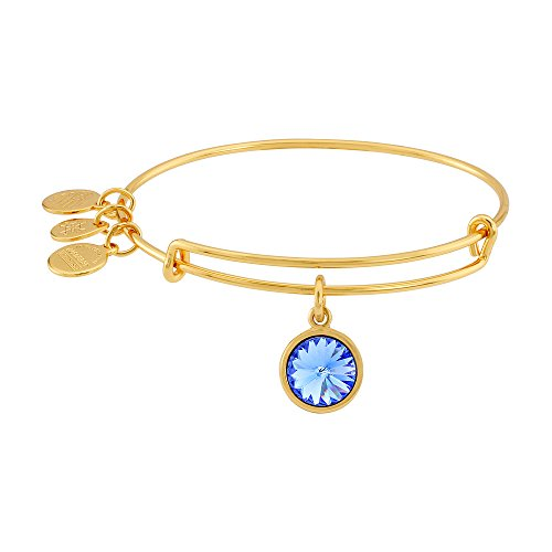 "Alex and Ani ""Bangle Bar"" September Imitation Birthstone Gold-Tone Expandable Bracelet"