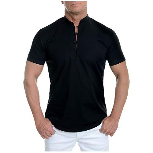 Shirt Standard-Fit Tropical Hawaiian Short Sleeve Shirt Smart Blouse Men (L,3- Black) -