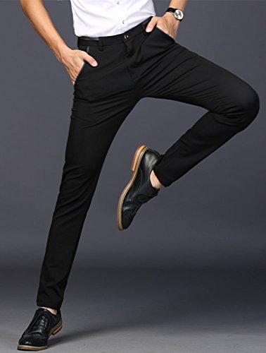 Plaid&Plain Men's Stretch Dress Pants Slim Fit Skinny Suit Pants 7108 Black 33W32L