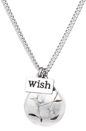 Pashal Blow a Dandelion Seed and make a Wish, Cute Orb Bottle Necklace